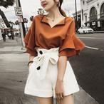 【set】超人気ファッション無地シャツ+ショートパンツセットアップ22330708