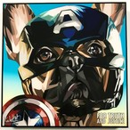 French Bulldog (CAPTAIN AMERICA) / フレンチブルドッグ キャプテンアメリカ「ポップアートパネル Keetatat Sitthiket」フレーム ボード グラフィック 絵画 壁立て 壁掛けインテリア 額 ポスター プレゼント ギフト 犬 MARVEL マーベル キータタットシティケット