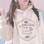 【送料無料】 トレンドのプルオーバー♡ ロゴプリント フード付き 裏起毛 オーバーサイズ パーカー トップス