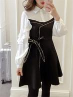 【dress】Flounce patchwork puff sleeve date dress