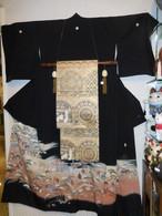 糸目手描友禅黒留め袖着物 silk  Kimono