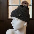 イニシャルニット帽(チャコールグレー)