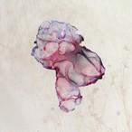 染めオーガンジーのアートピアス|赤紫