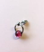 Vintage glass Ring Earring rose #1785