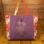 帯と刺繍のトートバッグ『房咲き水仙』