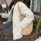 2色 キルティング ジャケット ノーカラー アウター ホワイト ブラック 大人カジュアル シンプル レディース ファッション 韓国 オルチャン