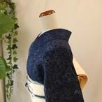 【S様ご予約品】正絹ちりめん 藍染の総柄小紋 単衣