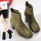 【shoes】Thick and square head suede boots