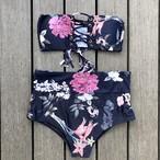 Bikini♡ローズプリントレースアップバンドゥビキニ GSB18S067NVY