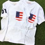 お揃い ペアルック 星条旗 プリント ポケット Tシャツ 半袖 | ビックポケット アメリカ USA 国旗 父の日 ギフト Tシャツ 5.6オンス ホワイト