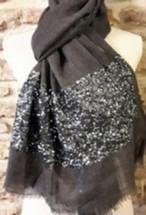 ◇Autour du Parfam◇ Stars Collection  Sequins Stole(Black)ウールストール