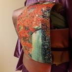 正絹袋帯 紅鳶色に山水の刺繍
