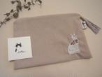 猫刺繍のポーチ(しろねこ)