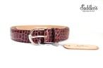 サドラーズ Saddler's クロコダイル型押しレザーベルト SG08 ボルドー 80