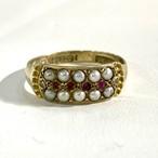 イギリス1924年製アンティークリング K9  指輪 ルビー パール ダイヤモンド