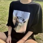 【送料無料】 メタリックカラーが映える♡ ロゴ オーバーサイズ Tシャツ カジュアル ビッグシルエット