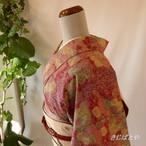 正絹紬 紅鶸色に小鳥の総柄小紋 袷