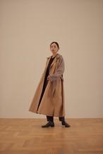 volume tuck wool trench coat