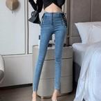 【bottoms】着痩せハイウエストファッションデニムパンツ27156658