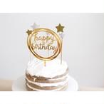 ケーキトッパー(happy birthday/ミラーゴールド)