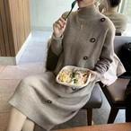 【dress】上品な印象ボタン飾りハーフネック気質あふれワンピース24903285