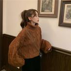【送料無料】 華奢見えニット♡ ボリューム袖 タートルネック ショート丈 プルオーバー ニット トップス