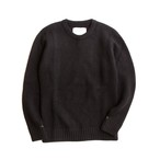 THE INOUE BROTHERS/Solid Jacquard/Crew Neck Sweater/Black
