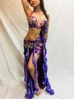 エジプト製ベリーダンス 衣装 パープル
