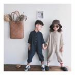 スタンドカラー ポケット付 ジャンプスーツ カバーオール つなぎ 韓国子供服/韓国ベビー服