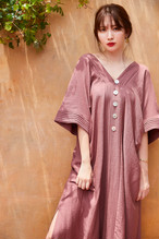 Linen-blended Kaftan Dress