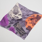 残り1枚!Silk  'Orchestra' lilac&grey リング付きミニスカーフ