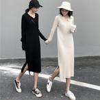 【dress】スリット着心地いいロングニットかわいいワンピース 23808856