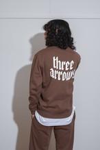【10/6(WED)20:00販売開始】THREEARROWS LOGO SET UP SWEAT(dark brown)