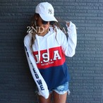 USAバイカラーsweatPK/white
