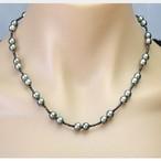 ブラックダイヤモンド 5ct パール6.5mm~7mm玉 ネックレス K18WG