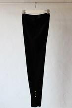 【eicayoshinari】tule velvet slit pants-black