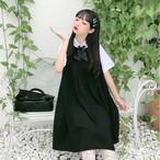 送料無料 ジャンパースカート Aライン プリーツ ワンピース リボン付き シャツ 制服風 4704