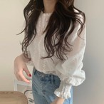【tops】シャツ韓国chicスウィートラウンドネックレースランタンスリーブ
