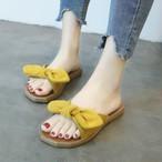 【shoes】清新無地合わせやすいリボン付きビーチサンダル