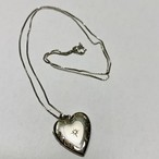 Vintage Heart Shaped Silver Locket Pendant Necklace