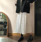 【送料無料】ドット柄スカート♡ プリーツスカート ミモレ丈 ロング ウエストゴム