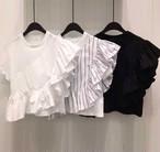 大人可愛い アシンメトリー フリル Tシャツ 5色