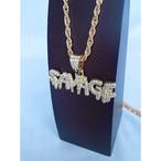 SAVAGE サベージ ブリンブリン ラインストーン ジルコニア GOLD ゴールド 金 ネックレス ヒップホップ 37