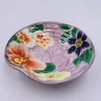 【陶あん】~SPRING SALE~ 京焼 清水焼  指スジ浅鉢 薄紫地 洋花*限定3個*