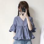【tops】ガーリー系チェック柄Vネック透かし彫りシャツ17810856