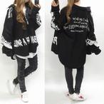 ストリート オーバーシャツ BIGシルエット ロゴ オーバーサイズ ブラック