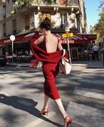 【送料無料】2ピースセット ロングニットワンピース 背中見せ ニットカーディガン ドレス タイトスカート