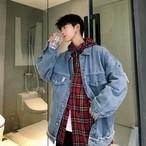 デニム ジャケット アウター 長袖 ストリート系 ダメージ 切りっぱなし メンズ オーバーサイズ オルチャン 韓国 原宿