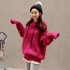 【tops】ニットセーターフード付きゆったりコート
