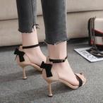 【shoes】エレガント配色リボン付きハイヒールセレブ気質サンダル